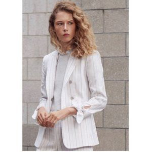 TAILORED BY REBECCA TAYLOR Stripe Tie Cuff Jacket